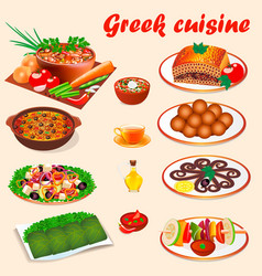 set of typical national dishes of greek cuisine vector image