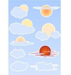 Set with sun and clouds on blur sky vector image
