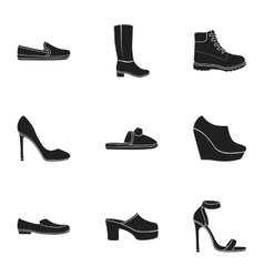 Shoes set icons in black style Big collection of vector image