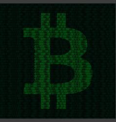 Silhouette of bitcoin symbol from binary digits vector