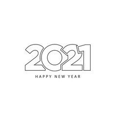 simple style lines happy new year 2021 black vector image