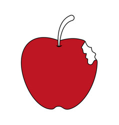 Sketch color silhouette bitten apple fruit vector