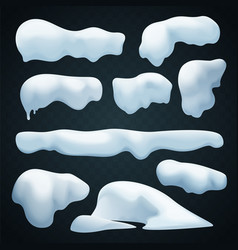 Snow caps set realistic snowdrift new vector