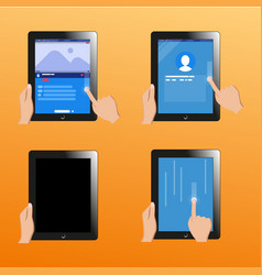 social network design touch screen touch- tablet vector image