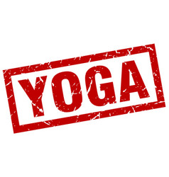 square grunge red yoga stamp vector image