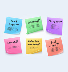 Sticky notes urgent paper memo set vector