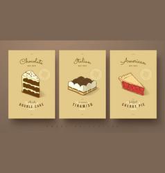Sweet collection double cake tiramisu and vector