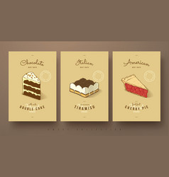 sweet collection of double cake tiramisu and vector image