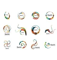swirl circle logo set vector image