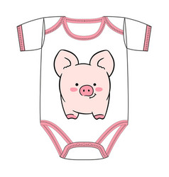 t-shirt of cartoon cute pink pig vector image