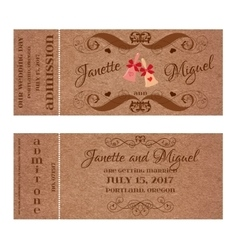 Ticket for Wedding Invitation with elegant wedding vector image