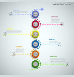 Time line info graphic with colored gears above vector