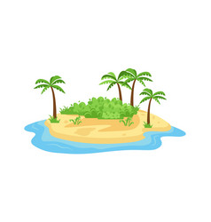 Tropical island in ocean small island with vector