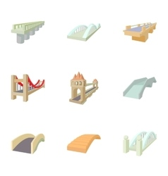 Types of bridges icons set cartoon style vector image