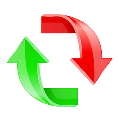 Up and down 3d arrows shiny red and green signs vector