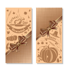 vertical banners set for thanksgiving vector image