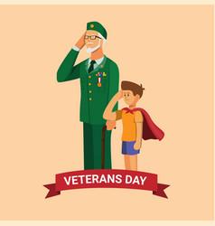 veterans day army veteran with grandchild vector image
