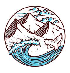 views sea and mountains vector image