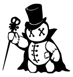 Voodoo doll conjurer stencil vector
