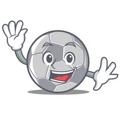 waving football character cartoon style vector image