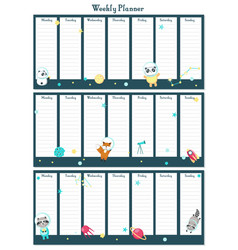weekly planner template with space animals vector image