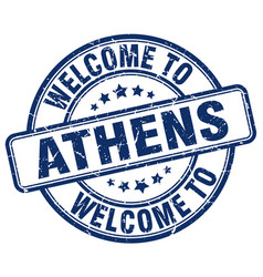 Welcome to athens blue round vintage stamp vector