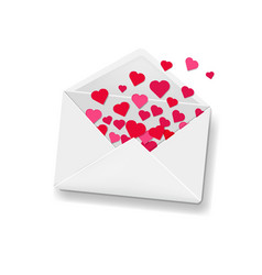 white envelope with hearts background vector image