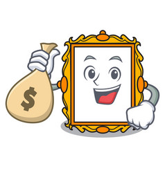 with money bag picture frame character cartoon vector image