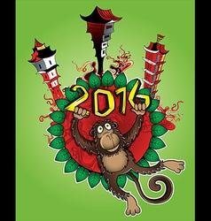 Cartoon monkey chinese city background vector image vector image