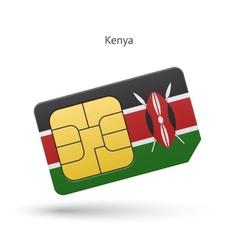 Kenya mobile phone sim card with flag vector image