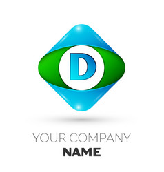 Realistic letter d logo in colorful rhombus vector