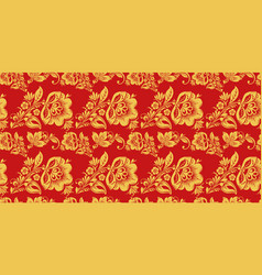 Russian seamless pattern with hohloma decor vector