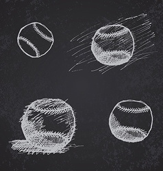 Baseball ball sketch set on blackboard vector image