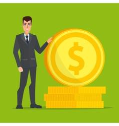 businessman standing near a huge gold coin vector image