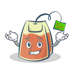 grinning tea bag character cartoon art vector image vector image