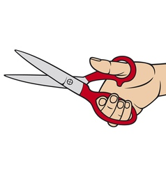 hand holding scissors vector image