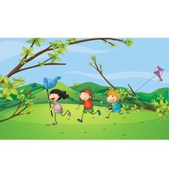 Kids catching the butterflies vector image vector image