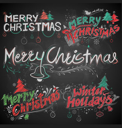 merry christmas and winter holiday chalk lettering vector image vector image