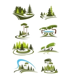 Park garden and forest landscape icons vector image