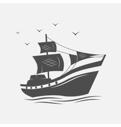 Sailing ships on the sea isolated vector image