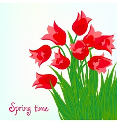 Spring card background with red tulips vector image vector image