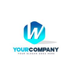 w letter logo hexagon shape modern design vector image