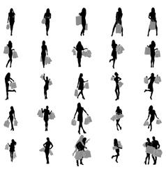 Women Shopping Silhouette set vector image