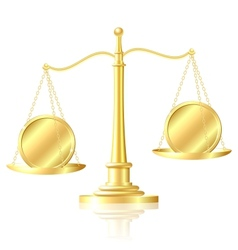 Coin outweighs another coin on scales vector image