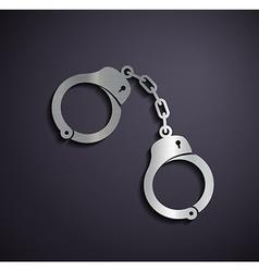 Flat metallic logo handcuffs vector