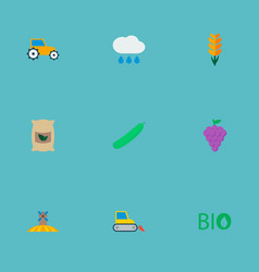 icons flat style grown bags rain field and other vector image vector image