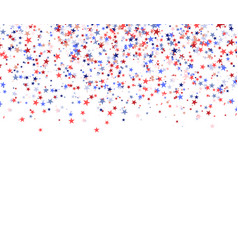 red blue and white stars falling from the sky vector image vector image