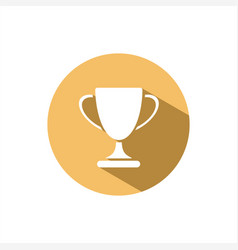 trophy icon with shadow on yellow circle vector image vector image