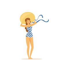 beautiful young woman in swimsuit and straw hat vector image