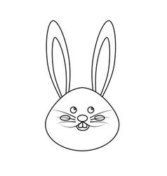 figure nice face of happy rabbit animal vector image